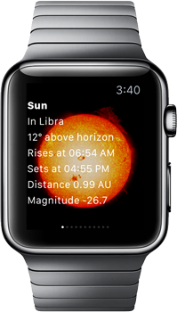 SkySafari 5 Apple Watch with Sun