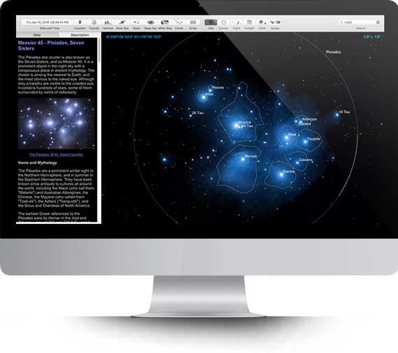 Apple iMac running Starry Night Middle School software showing a planet Saturn simulation