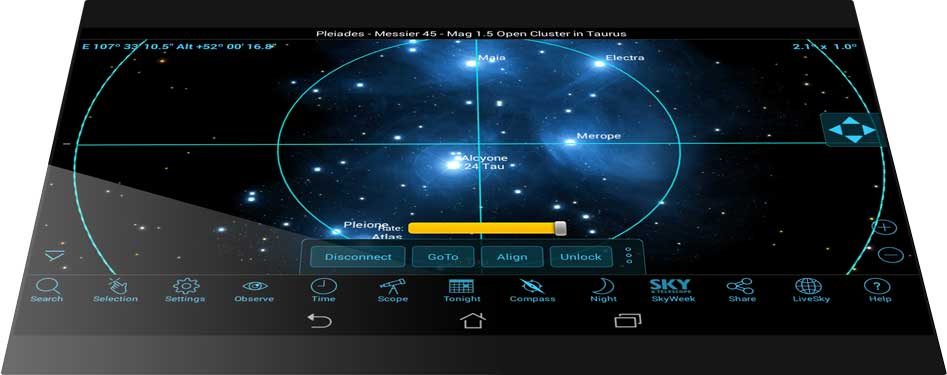 SkySafari 6 on ANDROID Tilt-to-Slew Scope Control