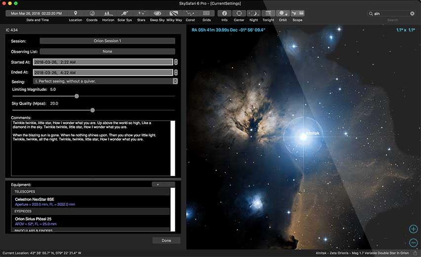 SkySafari 5 OpenGL Graphics Modelling Screenshot