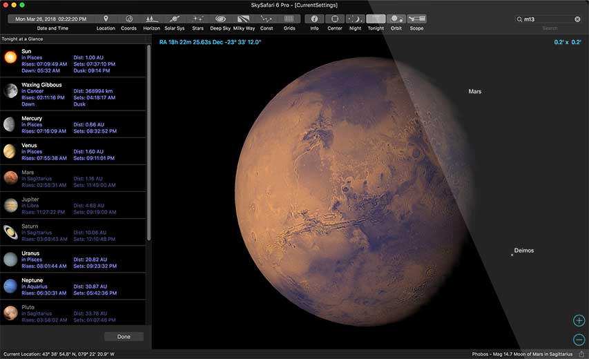 SkySafari 6 Pro Tonight At A Glance Mars Screenshot